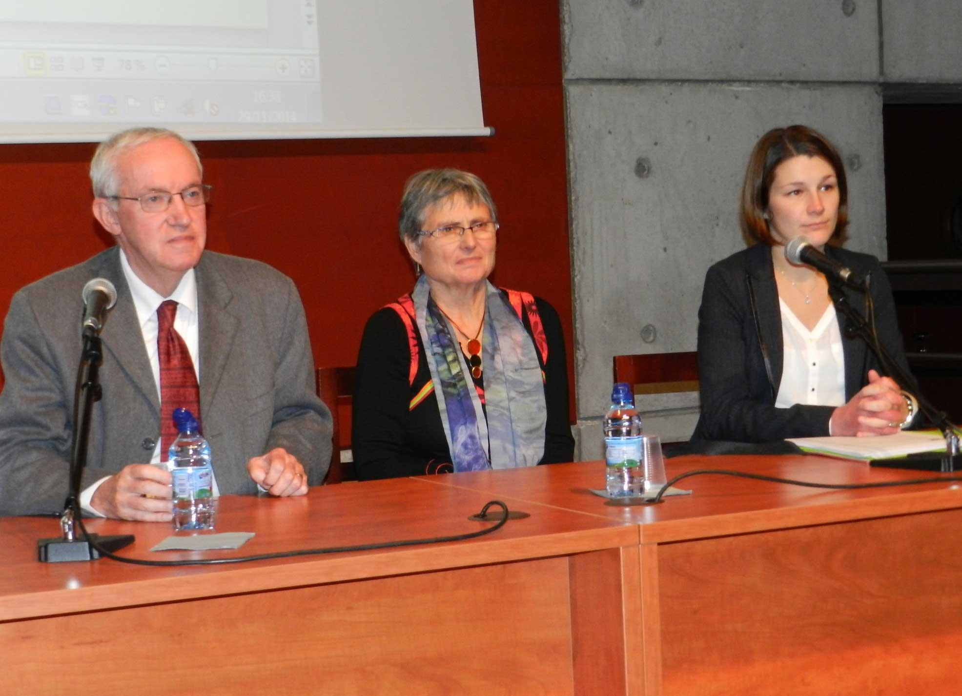 Jacques Ricot, notre présidente Marithé Heurtaux, Aurore Catherine-Leprovaux, juriste {JPEG}